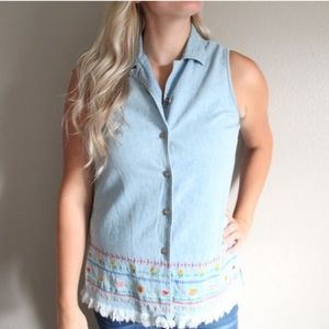 Vintage Embroidered Fringe Tank Top Vest Denim